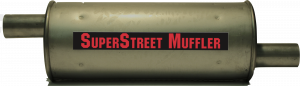 "Super Street Mufflers Professional installer - SuperStreet Muffler 1.75""id offset/offset 6""round X 15.50""body 23""OAL Part#:IM471"