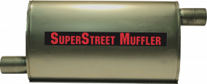 "Super Street Mufflers Professional installer - SuperStreet Muffler 2""id offset/offset 4X9X18""body 25""OAL Part#:IM474"