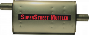 "Super Street Mufflers Professional installer - SuperStreet Muffler 2""id offset/center 4X9X18""body 25""OAL Part#:IM470"