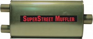 "Super Street Mufflers Professional installer - SuperStreet Muffler 2.50""id center x 2""id dual outlet 4.5X9.5X19""body 25""OAL part#:IM533"