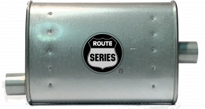 "Hot Rod and Muscle Car - Route Series Turbo Mufflers- 2""ID in 2""ID out offset center 4""X9"" oval 14"" body 18"" overall #RS66-903 - Image 2"