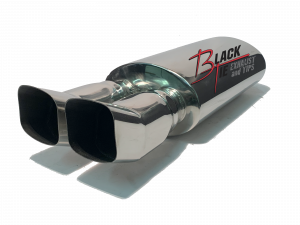 "BlackTie Exhaust and Stainless Steel Tips - BlackTie Muffler-3.25"" X 3.5"" DUAL TURNED UP 2.25""ID CENTER INLET 5"" X 8"" OVAL X 14"" LONG BODY 24.5""OAL POLISHED STAINLESS STEEL"