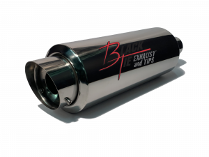 "BlackTie Exhaust and Stainless Steel Tips - BlackTie Muffler-4"" TIP 2.25"" ID CENTER INLET 5.7"" RD X 20"" OAL WITH REMOVABLE SILENCER POLISHED STAINLESS STEEL"