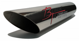 "BlackTie Exhaust and Tips - Truck / SUV - BlackTie Exhaust and Stainless Steel Tips - BlackTie Tip 3.50""round X 2.50""id inlet 18""OAL angle cut BT31218-212SS"