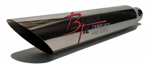 "Tips - BlackTie Exhaust and Tips - BlackTie Exhaust and Stainless Steel Tips - BlackTie Tip 3.50""round X 2.25""id, 18""long angle cut BT4722AC"