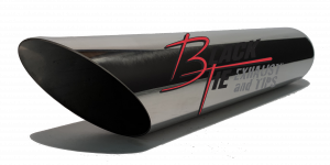 "Tips - BlackTie Exhaust and Tips - BlackTie Exhaust and Stainless Steel Tips - BlackTie Tip 3""round X 2.25""id inlet 16""OAL angle cut BT316ACSS"