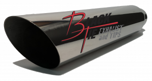 "Tips - BlackTie Exhaust and Tips - BlackTie Exhaust and Stainless Steel Tips - BlackTie Tip 3.50""round X 2.50""id, 18""long angle cut BT5718AC"