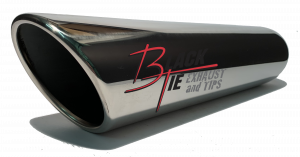 "Tips - BlackTie Exhaust and Tips - BlackTie Exhaust and Stainless Steel Tips - Blacktie Tip 4""round  X 2.50""id, 18""long inner rolled angle cut BTRAC418"